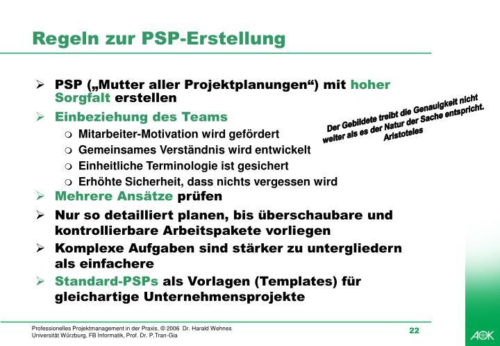 Regeln zur PSP-Erstellung