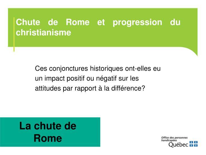 Chute de Rome et progression du christianisme