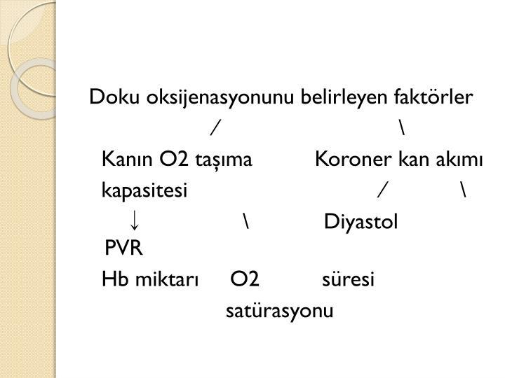 Doku oksijenasyonunu belirleyen faktörler