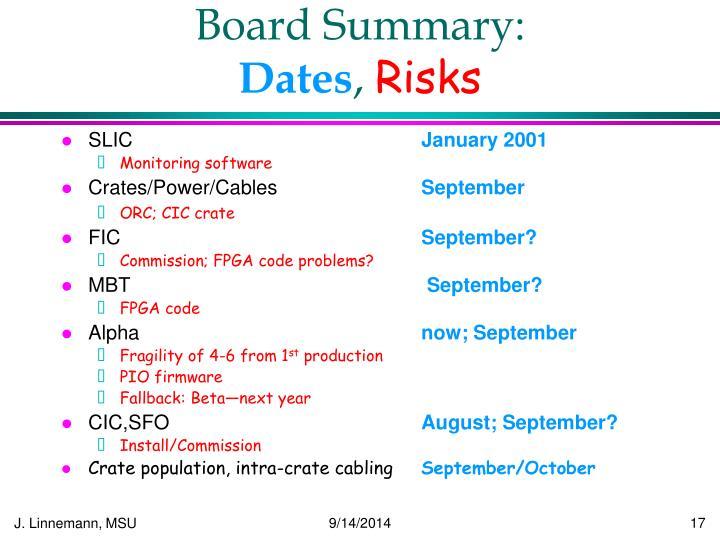 Board Summary: