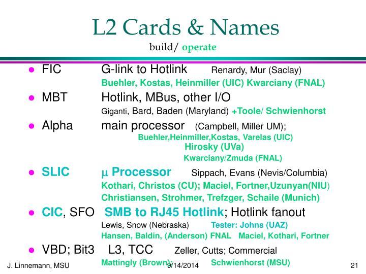 L2 Cards & Names