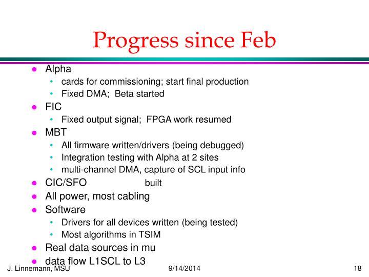 Progress since Feb