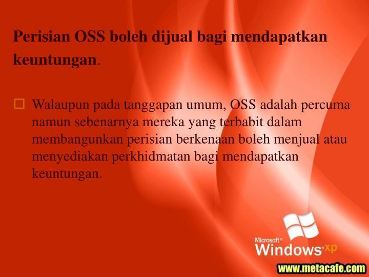 Perisian OSS boleh dijual bagi mendapatkan keuntungan