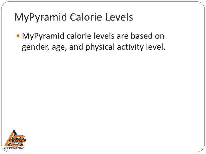 MyPyramid Calorie Levels
