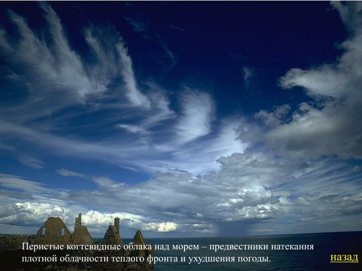 Перистые когтевидные облака над морем – предвестники натекания плотной облачности теплого фронта и ухудшения погоды.