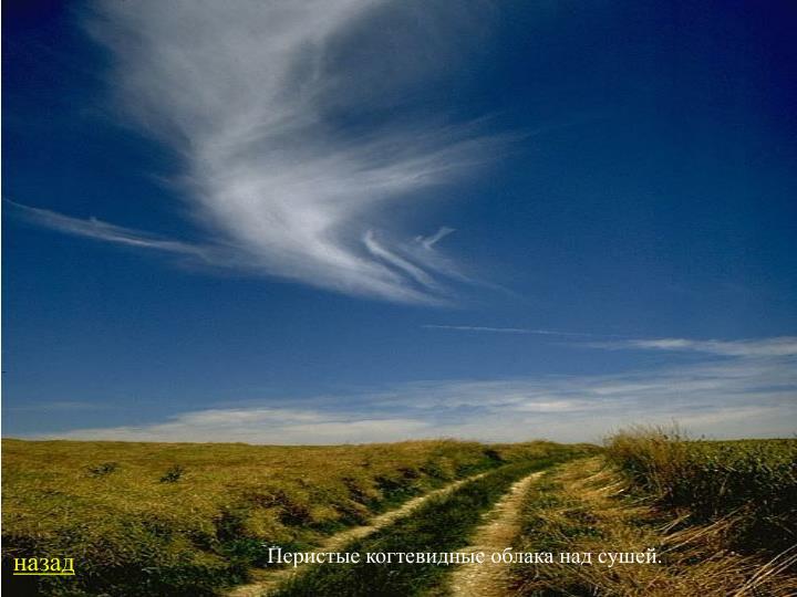 Перистые когтевидные облака над сушей.