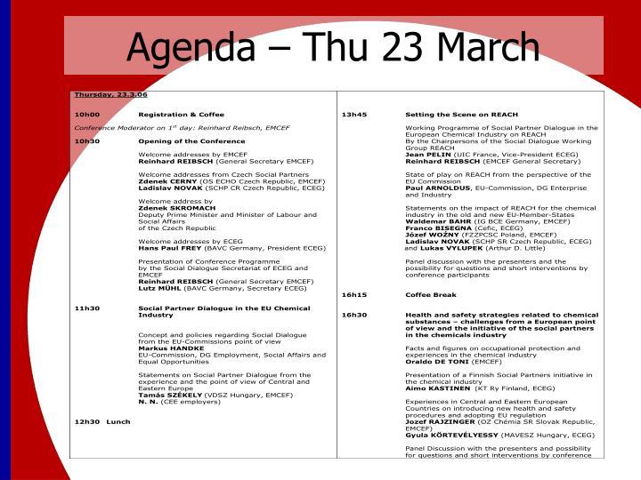 Agenda – Thu 23 March