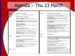 agenda thu 23 march