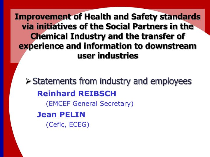 Improvement of Health and Safety standards via initiatives of the Social Partners in the Chemical Industry and the transfer of experience and information to downstream user industries