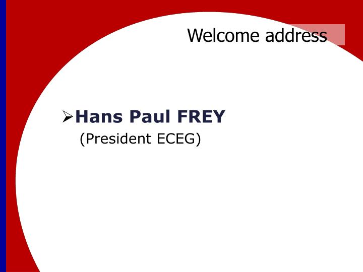 Welcome address