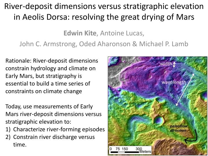 River-deposit dimensions versus stratigraphic elevation in Aeolis Dorsa: resolving the great drying of Mars