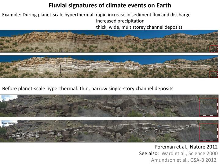 Fluvial signatures of climate events on Earth