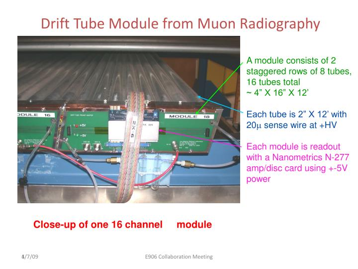 Drift Tube Module from Muon Radiography