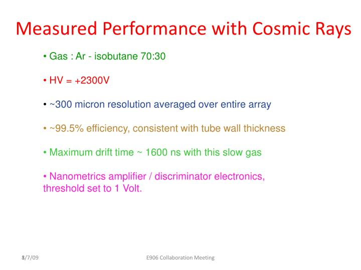 Measured Performance with Cosmic Rays