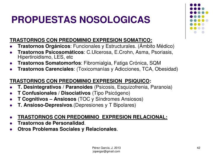 PROPUESTAS NOSOLOGICAS