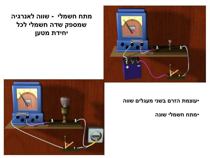 מתח חשמלי  - שווה לאנרגיה שמספק שדה חשמלי לכל יחידת מטען