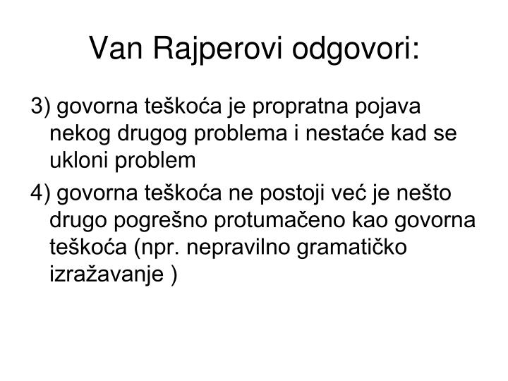 Van Rajperovi odgovori: