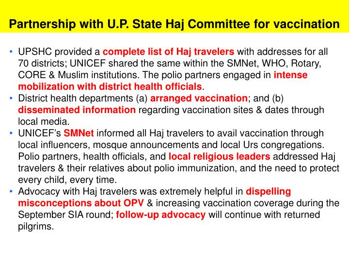 Partnership with U.P. State Haj Committee for vaccination