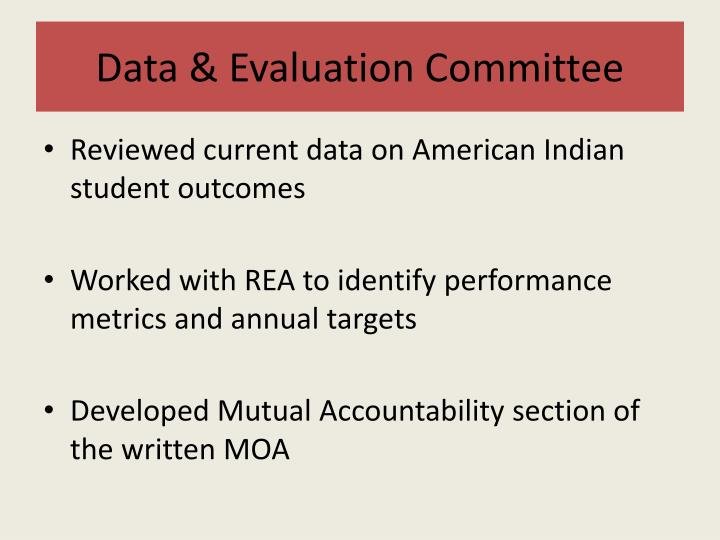 Data & Evaluation Committee