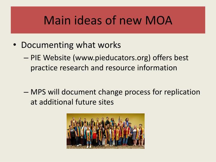 Main ideas of new MOA