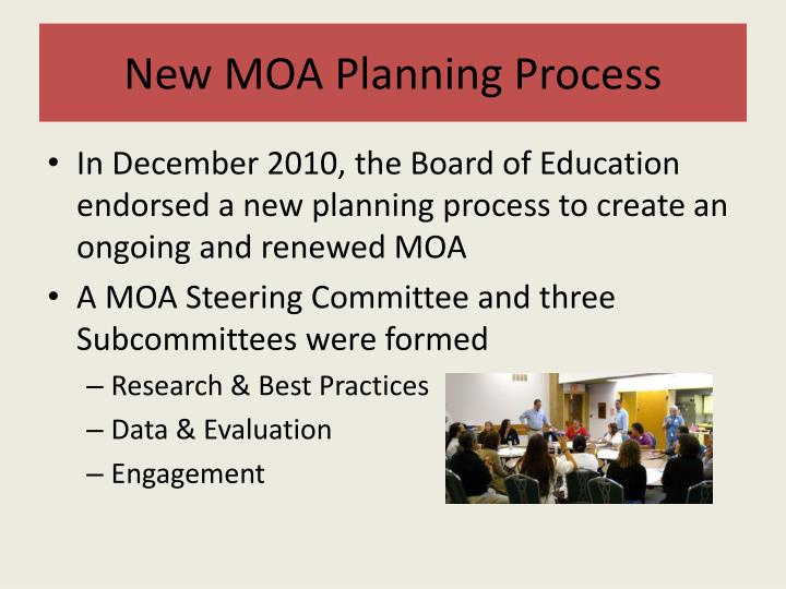 New moa planning process