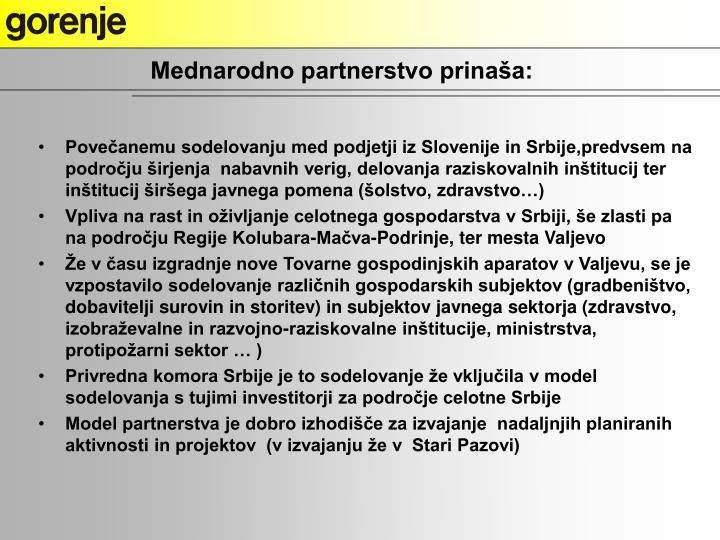 Mednarodno partnerstvo prinaša: