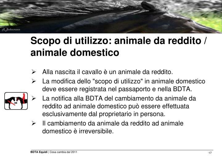Scopo di utilizzo: animale da reddito / animale domestico