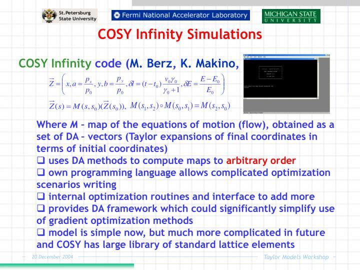 COSY Infinity Simulations