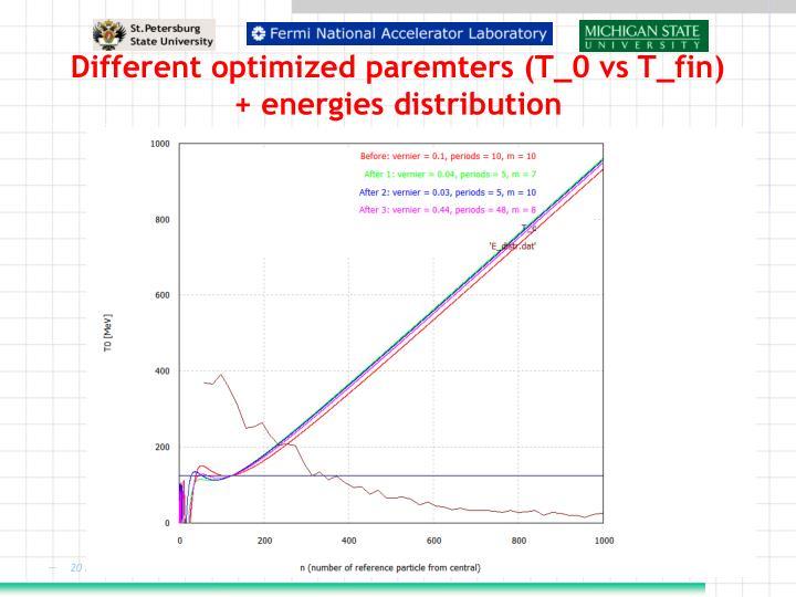 Different optimized paremters (T_0 vs T_fin) + energies distribution