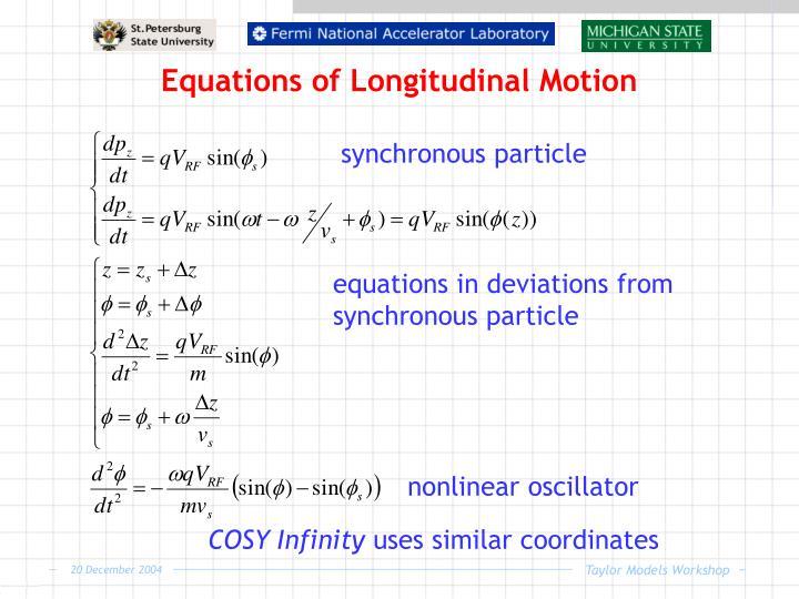 Equations of Longitudinal Motion