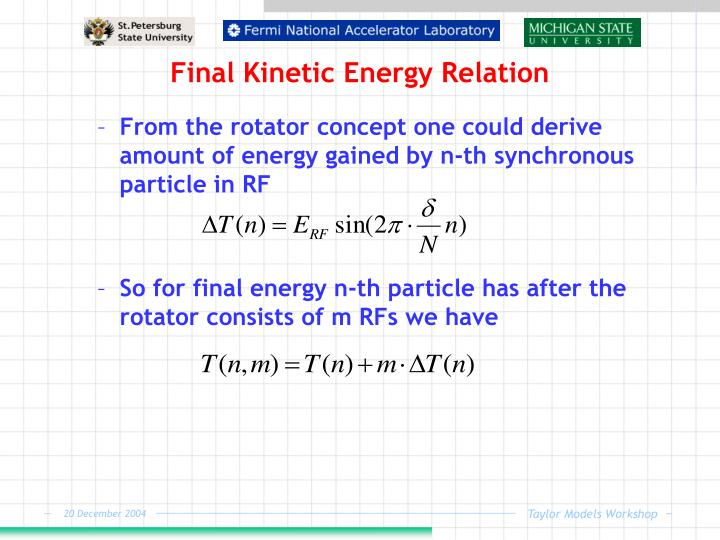 Final Kinetic Energy Relation