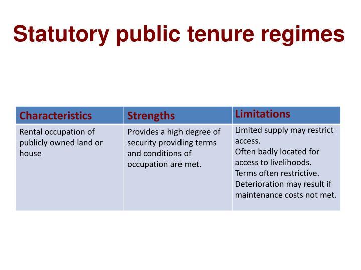 Statutory public tenure regimes