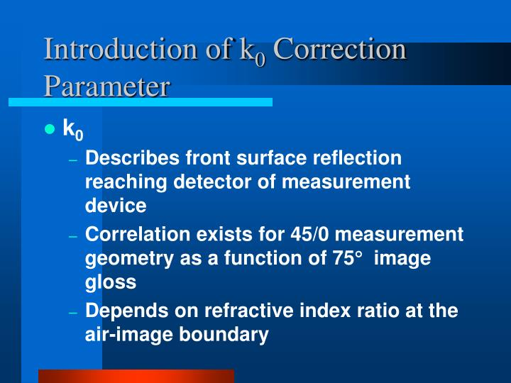 Introduction of k