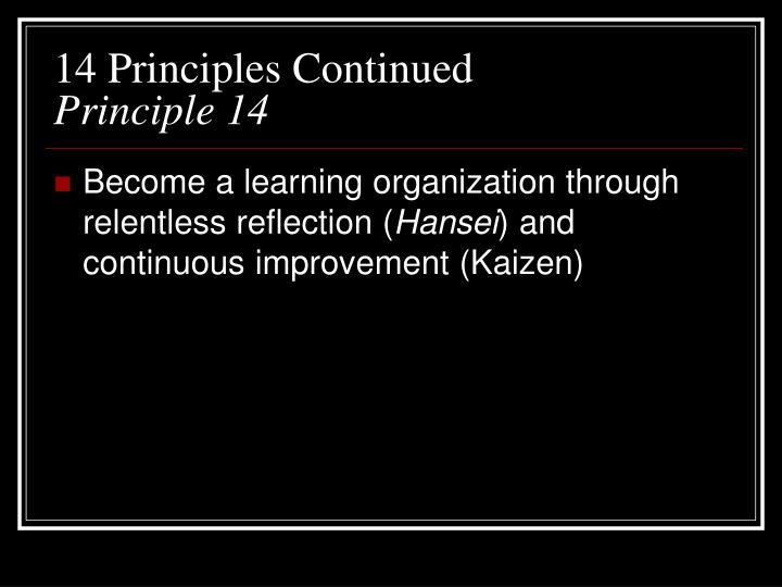 14 Principles Continued