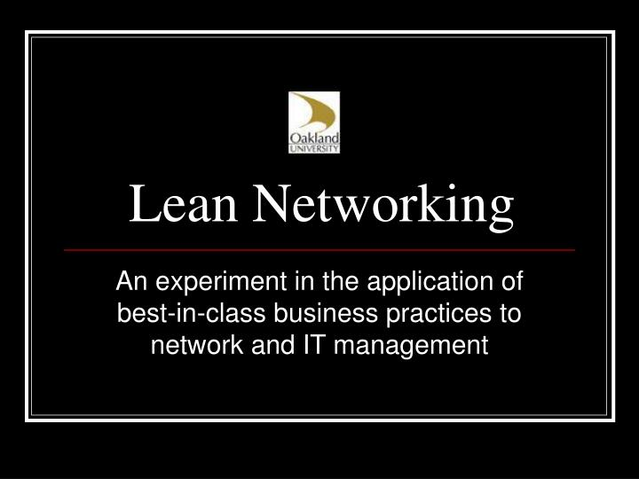 Lean networking