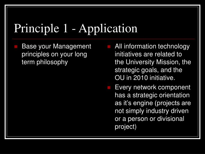 Base your Management principles on your long term philosophy