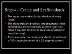 step 4 create and set standards