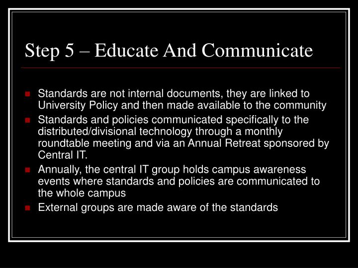 Step 5 – Educate And Communicate