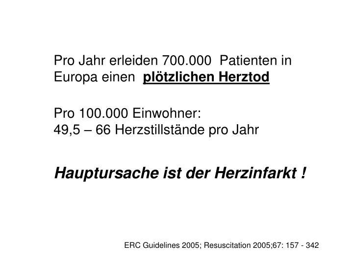 Pro Jahr erleiden 700.000  Patienten in Europa einen
