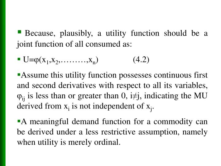 Because, plausibly, a utility function should be a joint function of all consumed as: