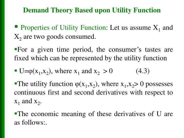 Demand Theory Based upon Utility Function