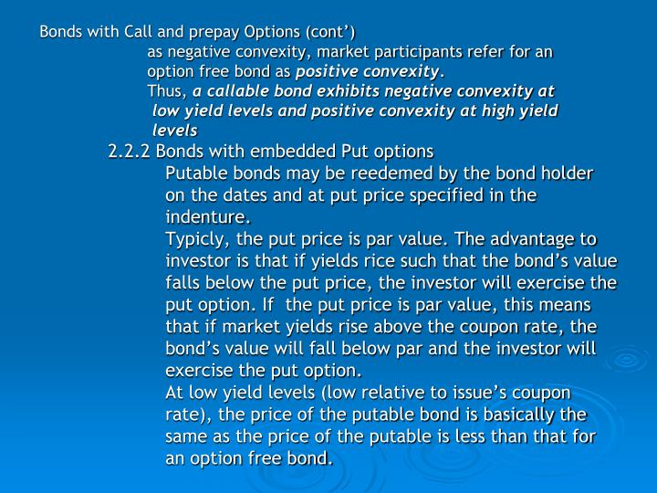 Bonds with Call and prepay Options (cont')