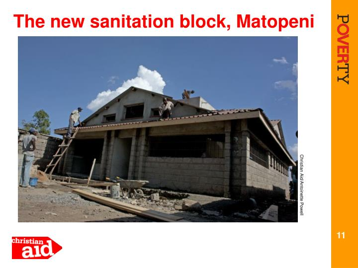 The new sanitation block, Matopeni