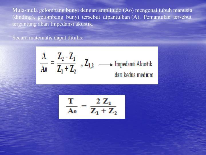 Mula-mula gelombang bunyi dengan amplitudo (Ao) mengenai tubuh manusia (dinding),  gelombang  bunyi  tersebut  dipantulkan (A).  Pemantulan  tersebut tergantung akan Impedansi akustik.