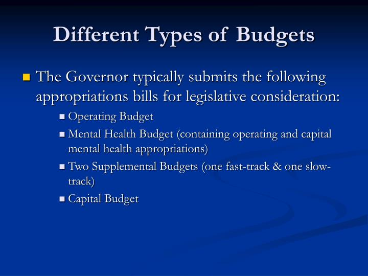 Different Types of Budgets