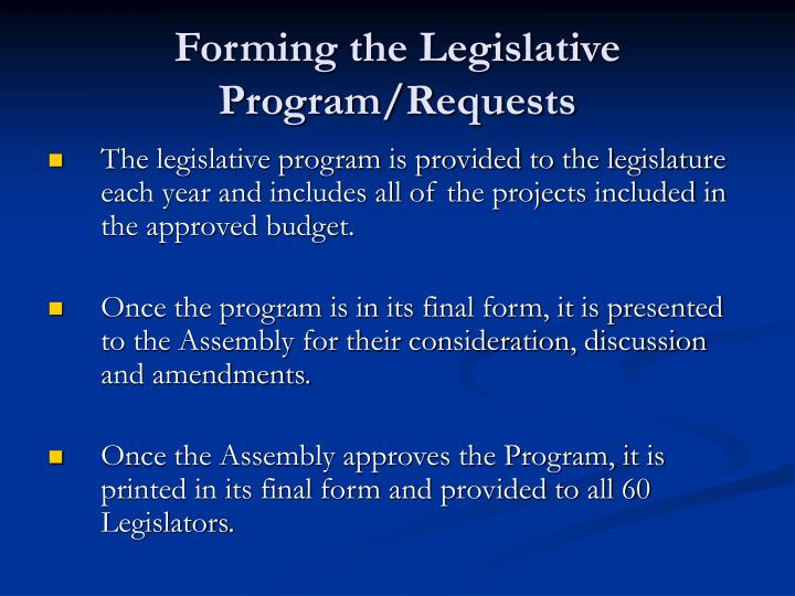 Forming the Legislative Program/Requests