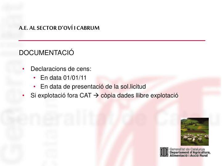 A.E. AL SECTOR D'OVÍ I CABRUM
