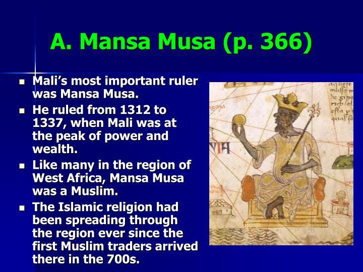 A. Mansa Musa (p. 366)