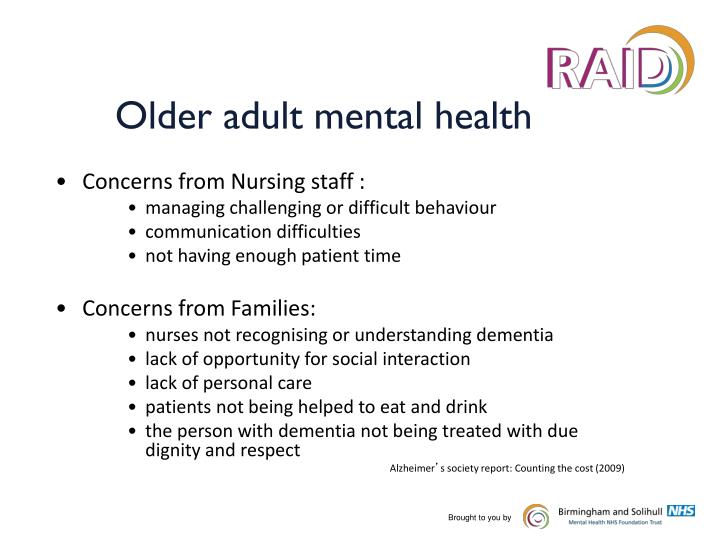 Older adult mental health