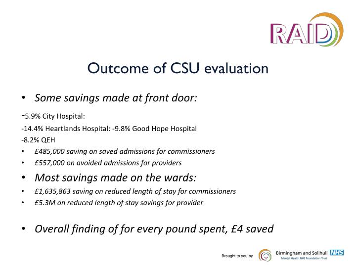 Outcome of CSU evaluation